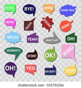 Speech bubble colorful set isolated on transparent background. Most common used words and phrases for Internet communication. Flat vector stock illustration