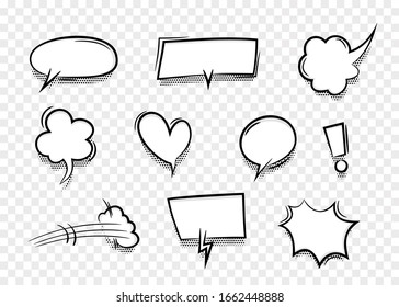 Speech bubble for comic text isolated transparent background. Empty white outline.  Dialog empty cloud, cartoon box. Speech bubble tag.