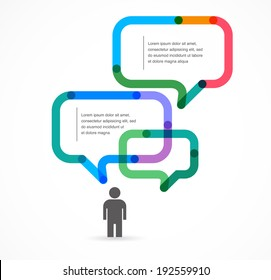 Speech bubble concept background and infographic with man