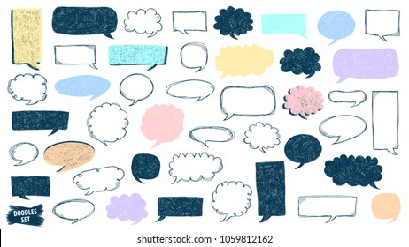 Speech bubble doodles set. Scribble frames collection. Sketch vector. Hand drawn. Speech bubbles bundle. Social media messages. Comics text. Chat or dialog clouds. Scrawl graphic isolated on white.
