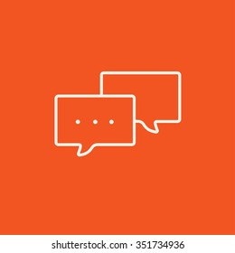Speech bubble with dots inside line icon for web, mobile and infographics. Vector white icon isolated on red background.