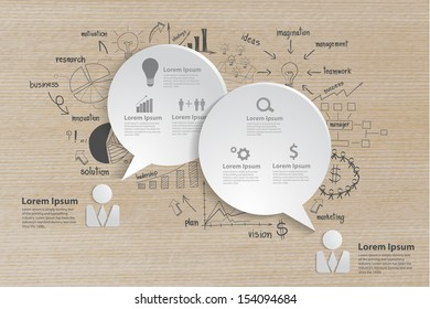 Speech bubble with drawing business strategy plan concept idea, workflow layout, diagram, step up options, web design, banner template, Vector illustration modern template design