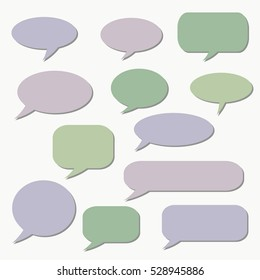 Speech bubble. Dream cloud. Talk balloon. Quote box. Text   information frame.  Set of vector illustration icons.  Thought bubbles. speech balloon.