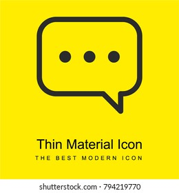 Speech bubble with ellipsis bright yellow material minimal icon or logo design