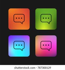 Speech bubble with ellipsis four color gradient app icon design