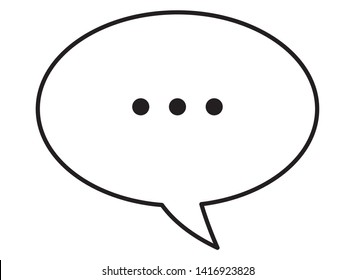 speech bubble with ellipsis icon cartoon isolated in black and white vector illustration graphic design