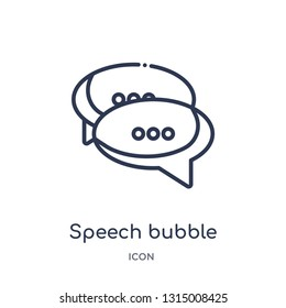 speech bubble with ellipsis icon from shapes outline collection. Thin line speech bubble with ellipsis icon isolated on white background.