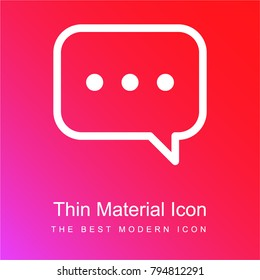 Speech bubble with ellipsis red and pink gradient material white icon minimal design