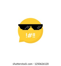 speech bubble emoji like rudeness. concept of trendy people or hipster and bad talk or insult. cartoon flat style trendy modern 8bit expression logotype graphic design element isolated on white