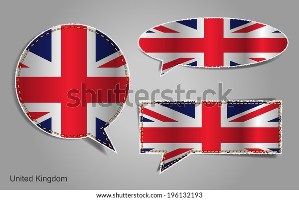 Speech bubble of english flag, Vector illustration modern template design banner badges, stickers, labels, tags, ripped and torn paper edges