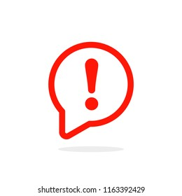 Speech bubble with exclamation mark. Red attention sign icon. Hazard warning symbol. Vector illustration in flat style.