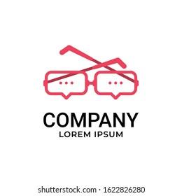 Speech Bubble with Eyeglasses Logo Design Vector Inspiration