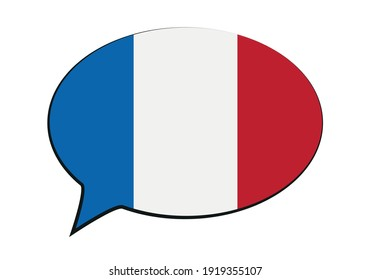Speech bubble with flag of France, Europe.