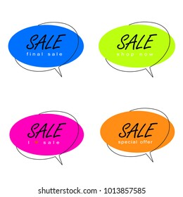Speech bubble flat design isolated on white background.For web site,banner design, sticker template,badge.Useful for placard,cards and poster.Collection of creative banner, modern concept