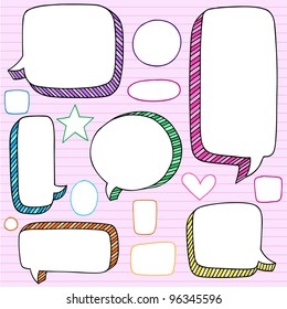 Speech Bubble Frames Notebook Doodles- Back to School Hand Drawn Design Elements on Lined Sketchbook Paper Background- Vector Illustration