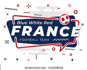 Speech Bubble FRANCE with icon football, soccer ball. Vector Illustration.
