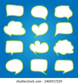 Speech bubble green edge on blue background. vector EPS 10.