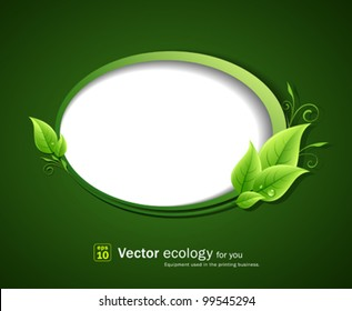 Speech bubble green leaf ecology, vector illustration