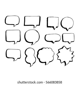 Speech bubble hand drawing icon