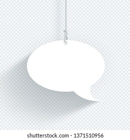 Speech Bubble Hanging On String Single Flat White Vector
