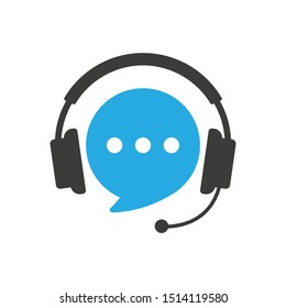Speech bubble with headphones. Support customer service, hotline, call center. Vector illustration isolated on white background.