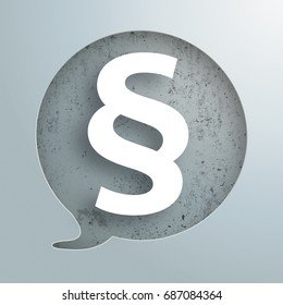 Speech bubble hole with white paragraph on the concrete background. Eps 10 vector file.