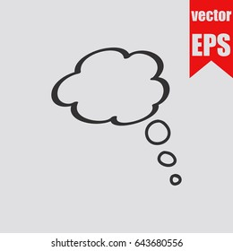 Speech bubble icon hand drawn doodle sketch isolated on grey background.Vector illustration.