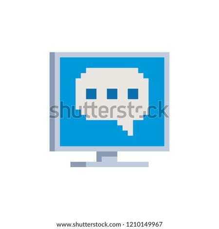 Speech Bubble Icon On Computer Screen Stock Vector (Royalty