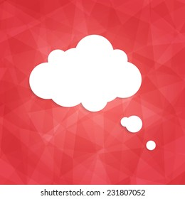 Speech bubble icon on red background. Vector illustration on trendy and modern abstract polygonal geometric background. Bright triangular ruby texture with white think cloud symbol. Web chat icon