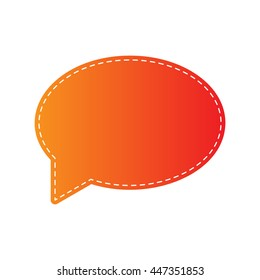 Speech bubble icon. Orange applique isolated.