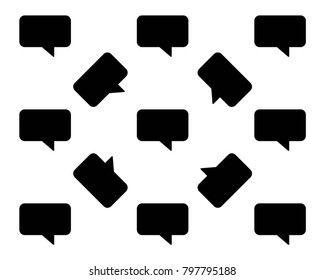 Speech bubble icon pattern background, black texture with comment speech bubble icon pattern, Repeat illustration of speech bubbles pattern geometric for any web design, chat icons set isolated