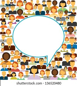 Speech bubble and icons of different people