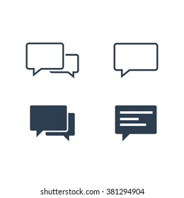 Speech bubble icons isolated on white background. Graphic vector speech bubble icons ai objects. EPS Drawing collection of user interface buttons for website.