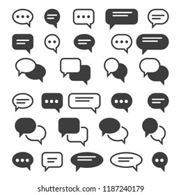 Speech bubble icons. Speak bubbles vector icon set, chat bubbling conversation, chatting text comment signs