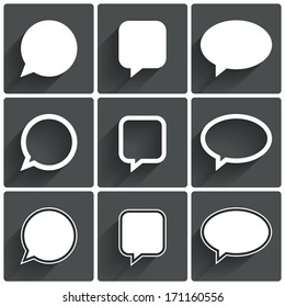 Speech bubble icons. Think cloud symbols. Vector illustration.