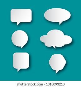 Speech Bubble Icons. Vector Paper Cut Talk Symbols Shapes Set on Blue Background.