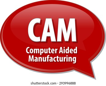 Speech bubble illustration of information technology acronym abbreviation term definition CAM Computer Aided Manufacturing
