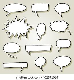 Speech bubble illustration set - comic style empty bubbles.