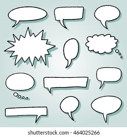 Speech bubble illustration set - comic style blank bubbles.