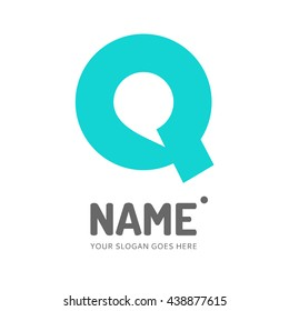Speech bubble and letter Q. Vector logo design. Business concept icon.