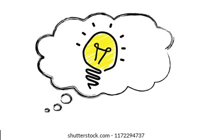 Speech bubble light lamps lamp Idea Creative ideas Concept idea and innovation with light bulb Several lamps hanging from above Bright business Idea Vector brain fun funny cloud sky pictogram cloud