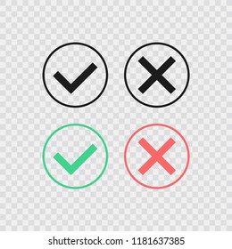 Speech bubble like dos and donts. Check mark. Concept of checklist element and reject or accept check mark symbol for evaluation quiz. Vector illustration. Check mark icon.