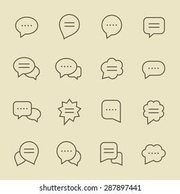 Speech bubble line icon set