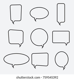 Speech bubble linear icons, vector collection. Chat, web icons. Flat design style, vector illustration