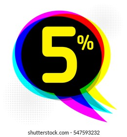 Speech Bubble in Pop-Art Style, business concept with text 5 percent Discount, vector illustration