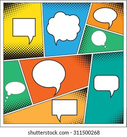 Speech Bubble in Pop-Art Style. lichtenstein pop art. Speech Bubbles in Pop-Art Style. Pop art comics background with space for coments. andy warhol pop art