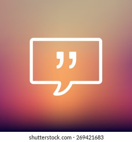 Speech bubble with punctuation symbol icon thin line for web and mobile, modern minimalistic flat design. Vector white icon on gradient  mesh background.