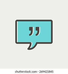 Speech bubble with punctuation symbol icon thin line for web and mobile, modern minimalistic flat design. Vector icon with dark grey outline and offset colour on light grey background.