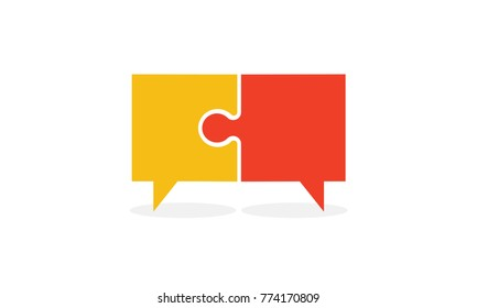 Speech Bubble In Puzzle Pieces Icon Concept Design