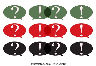 Speech Bubble with question mark and exclamation mark set